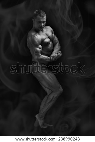 bodybuilder on black background