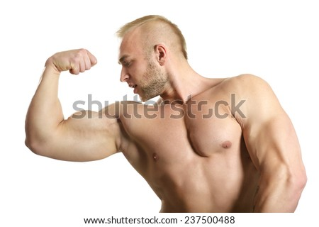 Bodybuilder posing his muscles on white background