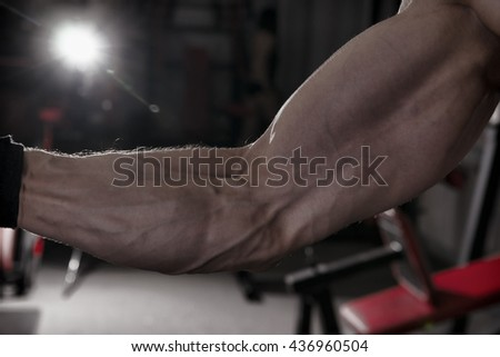 Bodybuilder posing in gym. Perfect muscular male biceps. Toning image - stock photo