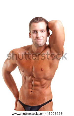bodybuilder posing-show his abs