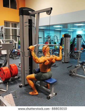 bodybuilder showing his muscles in the gym - stock photo