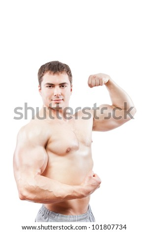 bodybuilder strong athletic muscle man, sport guy showing his male muscles, isolated over white background