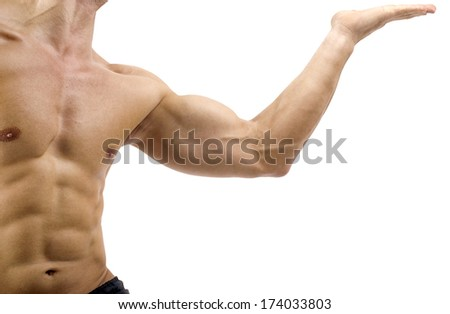 Bodybuilder topless, flexing his muscles. Strong man with perfect abs, shoulders,biceps, triceps and chest. Isolated on white background