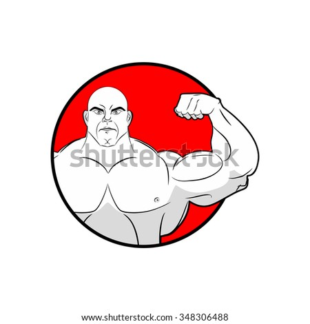 Bodybuilder with big muscles. Emblem gym. Logo for team sport athletes. Strong man shows biceps. People in  circle.