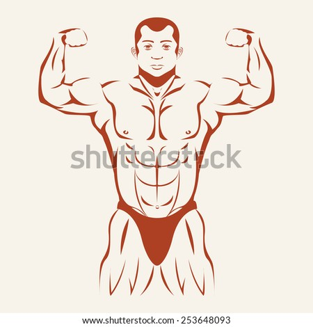 Bodybuilding and Powerlifting. Bodybuilder standing hands up, straining every muscle in the body