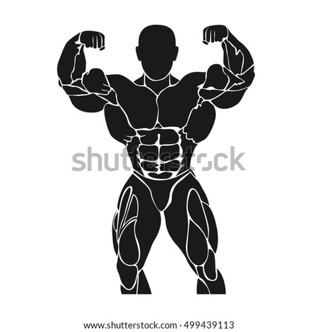 bodybuilding concept, flat style