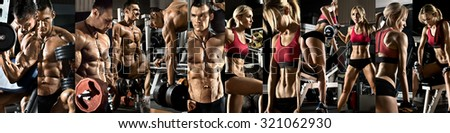 bodybuilding, execute exercise with weight, in gym, horizontal panorama, collage of photo - stock photo
