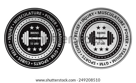 Bodybuilding fitness gym icons on a white background. - stock photo