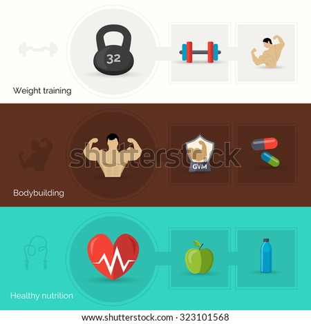 Bodybuilding horizontal banner set with weight training and healthy nutrition flat elements isolated  illustration
