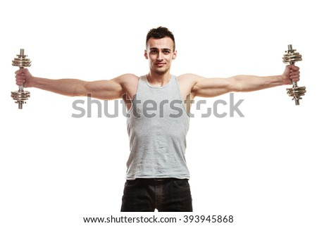 Bodybuilding. Strong fit man exercising with dumbbells. muscular young guy lifting weights white background - stock photo
