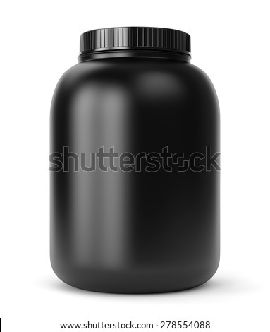 Bodybuilding supplements: can of protein or gainer powder isolated on white background - stock photo