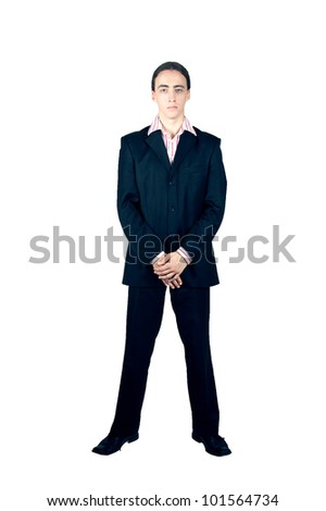 bodyguard isolated on white - stock photo