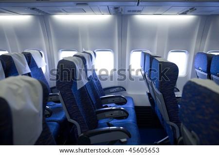 boeing airplaine interior empty - stock photo