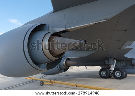 Boeing c-135 aerial re-fueling tanker transport aircraft - stock photo