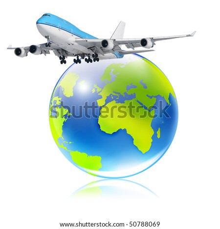 Boeing -747. Plane and globe - stock photo