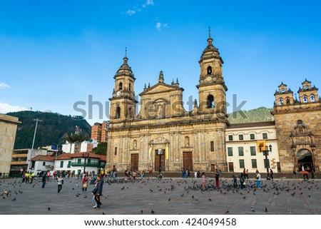 BOGOTA, COLOMBIA - APRIL 21: Activity in the Plaza de Bolivar in Bogota, Colombia on April 21, 2016 - stock photo