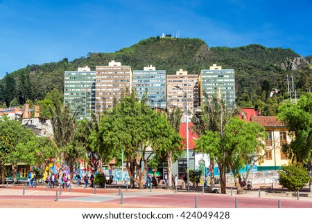 BOGOTA, COLOMBIA - APRIL 21: Street view and mountains in Bogota, Colombia on April 21, 2016 - stock photo