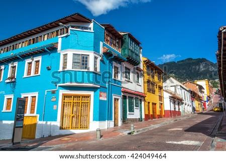 BOGOTA, COLOMBIA - APRIL 21: View of a street corner in La Candelaria neighborhood in Bogota, Colombia on April 21, 2016 - stock photo