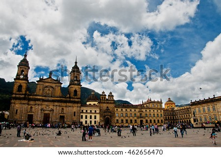 BOGOTA, COLOMBIA - AUGUST 28: People gather in the Plaza de Bolivar in the center of Bogota, Colombia on August 28, 2011