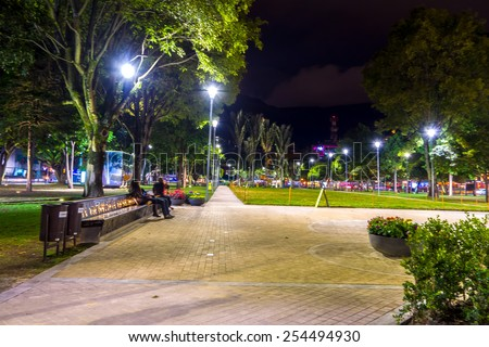 BOGOTA, COLOMBIA - FEBRUARY 9, 2015: 93 Park in Bogota, Colombia, Parque de la 93 is a commercial and recreational park in one of the most popular shopping, night clubs and restaurant areas.  - stock photo