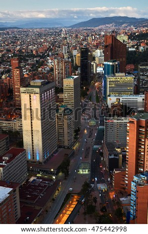 BOGOTA, COLOMBIA - JANUARY 3, 2015: A view of the city of Bogota from the top of the Colpatria building.