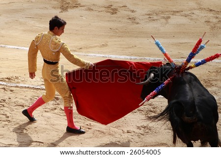 BOGOTA, COLOMBIA - JANUARY 18: An unidentified bullfighter in action in the Plaza de Toros in Bogota, Colombia January 18, 2009. - stock photo