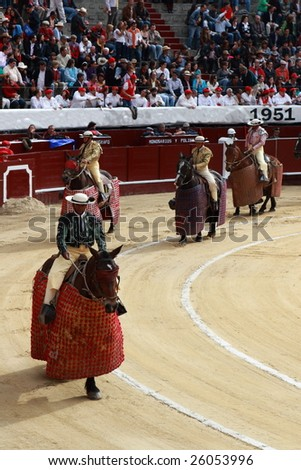 BOGOTA, COLOMBIA - JANUARY 18: Horsemen walk around the Plaza de Toros, January 18, 2009 in Bogota, Colombia. - stock photo