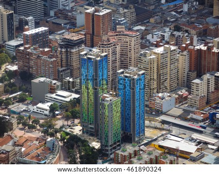 BOGOTA, COLOMBIA - JULY 31, 2016: View of university and office buildings in the downtown.