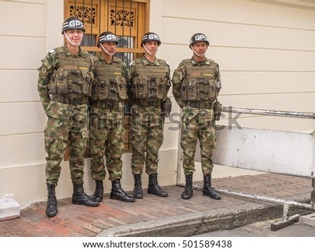 Bogota, Colombia - May 01, 2016: Armed riot police on the streets of Bogota