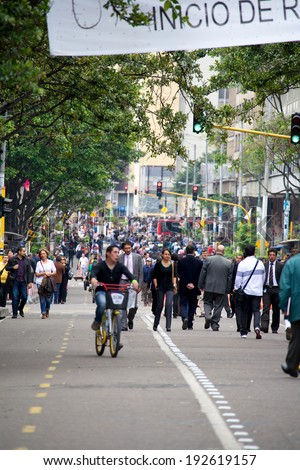 BOGOTA, COLOMBIA - MAY 06, 2014: People walking on The Royal Street, today known as the Carrera Septima or Seventh Avenue. This is one of Bogotas most important streets and major thoroughfares.