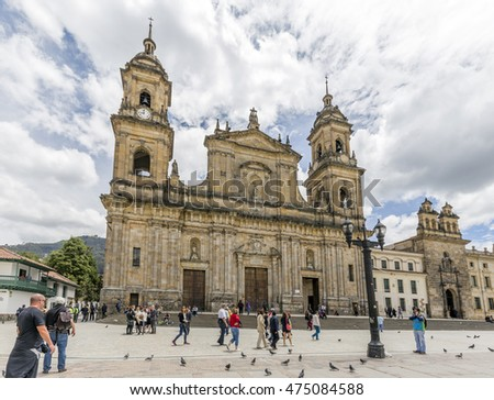 BOGOTA, COLOMBIA - OCTOBER 22, 2015: Unidentified people on Bolivar square in disctrict of La Candelaria. La Candelaria the historic center of Bogota. Colombia's capital city was founded here in 1538