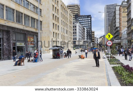 BOGOTA, COLOMBIA - OCTOBER 22, 2015: Unidentified people on walking in downtown of the capital city. Bogota is the fastest growing major city in Latin America.