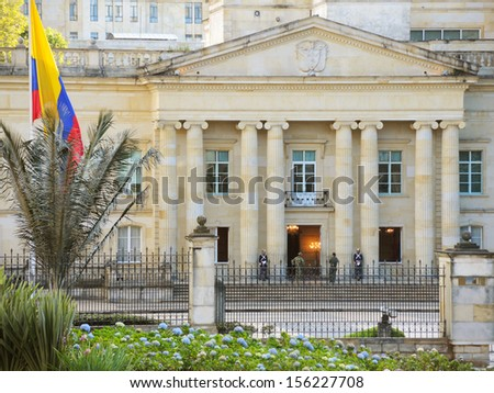 BOGOTA, COLOMBIA - SEPTEMBER 21: The Government Palace of the president of Colombia on September 21, 2013 in Bogota, Colombia.