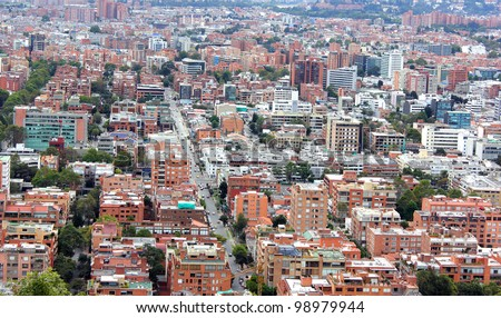 BOGOTA - JULY 10: Bogota is the largest city in Colombia, and one of the biggest of Latin America. July 10, 2011 Bogota Colombia - stock photo