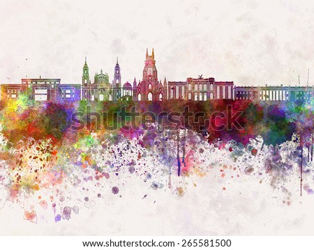 Bogota skyline in watercolor background v2 - stock photo