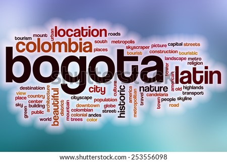 Bogota word cloud concept with abstract background - stock photo