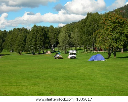 Bogstad camping ground in Oslo. - stock photo