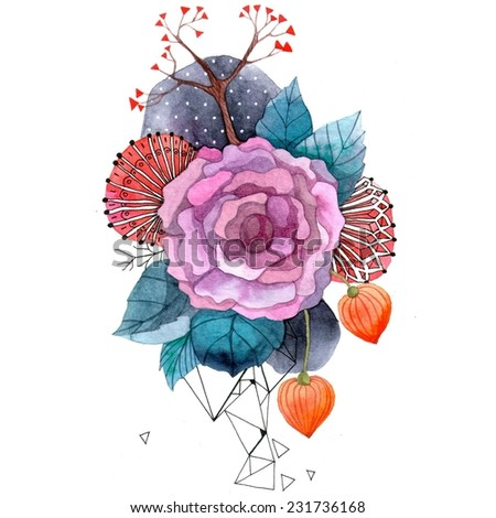 Bohemian floral watercolor illustration. Unusual artwork. - stock photo