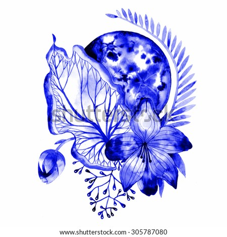 Bohemian floral watercolor illustration. Unusual artwork. - stock photo