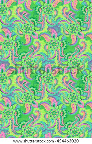 bohemian paisley pattermn. hippiebohemian seamless rainbow design with beautiful pailseys, flowers, lace, in psychedelic colors - stock photo