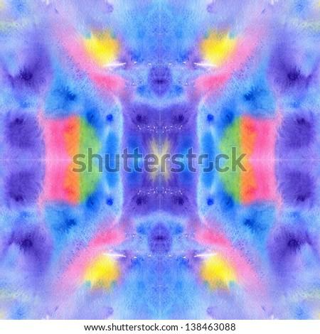 Bohemian watercolor seamless pattern. Colorful  tie-dye style raster texture. - stock photo
