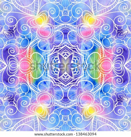 Bohemian watercolor seamless pattern. Ornamental lace pattern, background with many details, looks like crocheting handmade lace. Mandala colorful raster  texture. - stock photo