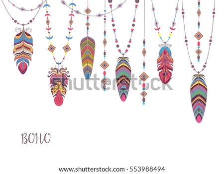 Boho Abstract Design with Bird Feather and Beads. Ethnic Tribal Decorative Background.