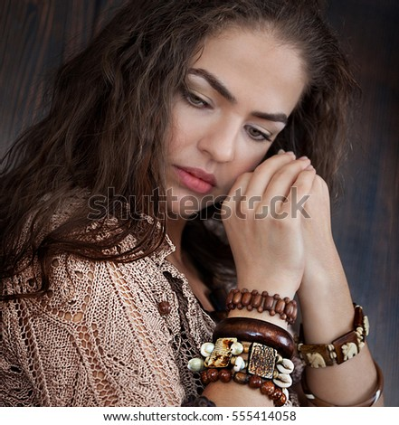 Boho style, Beautiful girl in ethnic jewelry
