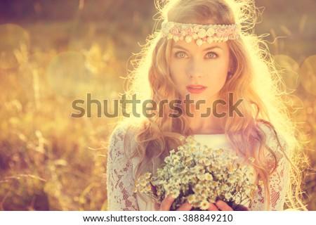 Boho Styled Bride on Nature Background - stock photo