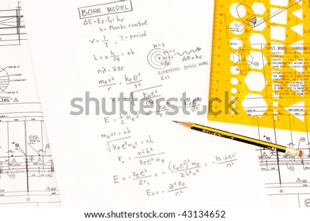 Bohr's model in trigonometry concept in mathematics. - stock photo
