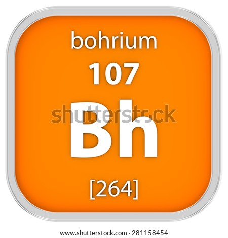 Bohrium material on the periodic table. Part of a series. - stock photo