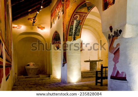 BOI, SPAIN - JULY 17, 2014: The paintings from Sant Joan in Boi make up what is considered one of the finest groups in Catalan Romanesque painting.Belongs to the UNESCO World Heritage Site.
