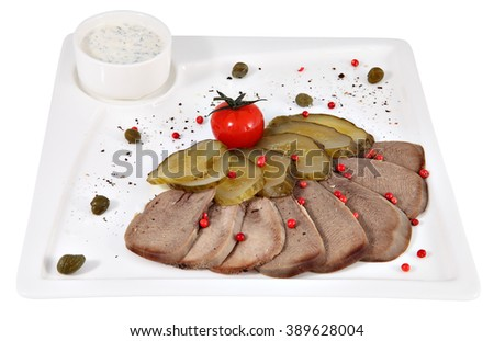 Boiled beef tongue with horseradish on a serving plate white square, studio shot, isolated on white background. - stock photo