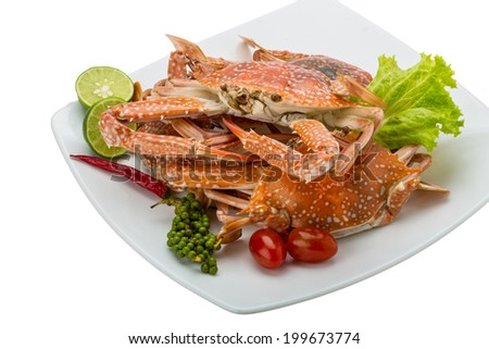 Boiled blue crab with campot pepper - stock photo